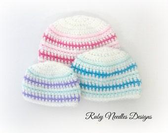 Crochet PATTERN - Lil' Diamond Baby Hat - 3 Sizes