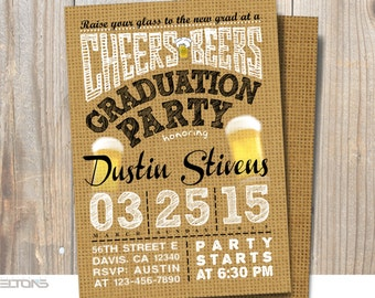 Graduation Invitation, Graduation Party with Beers and Cheers, Graduation Announcement, Burlap Canvas Background, DIY