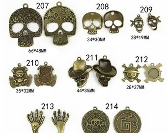 10pcs Antique Skull Charm Pendant   Day of the Dead