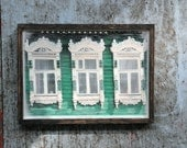 Russian decorative dacha window. Original Encaustic Photography. Rostov, Russia. Fine art wall decor. Green, white. Framed 5x7
