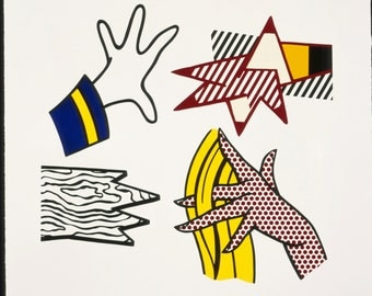 "Roy Lichtenstein ""Study of Hands (Corlett 191)"" - 1981 - S/N Lithograph/Screenprint - COA - See Live at GallArt - Buy/Sell"