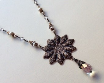 Antique Copper and Swarovski Wire Wrapped Necklace