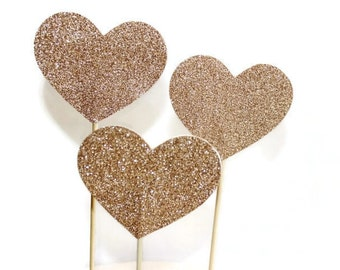 Large Glitter Love Heart Cake Toppers/Wedding Cake Toppers/Cake Pokes. Set of Three. Gold Glitter - Wedding - Engagement - Anniversary.