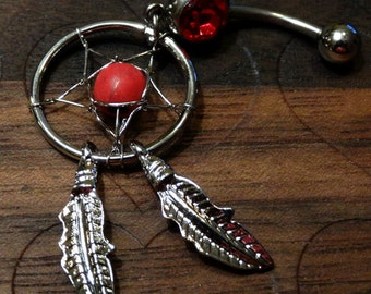 Dream Catcher Belly Button Ring -- Red