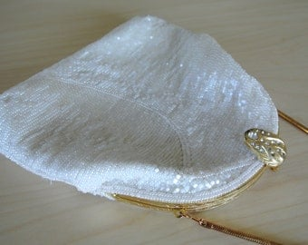 1960s 70s Beaded Clutch Shoulder Bag White Deco Fully Encrusted in Beads Ornate Rhinestone Clasp Wedding/Bridal/Prom