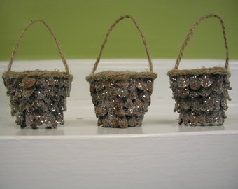 Pine Scale Covered Peat Pot Ornaments