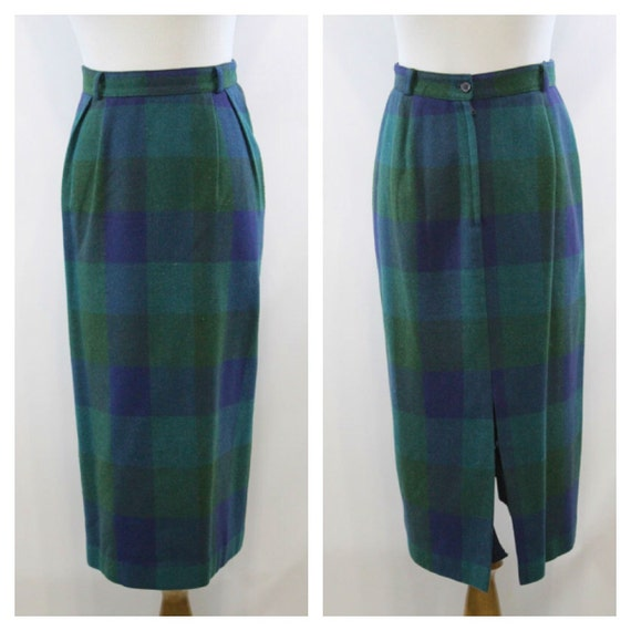 vintage 60s skirt plaid pencil skirt midi by sammyschifforobe
