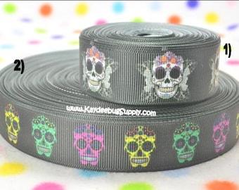 3 yards Sugar Skulls - Dia De Los Muertos - 7/8 or 1 inch - Printed Grosgrain Ribbon CHOOSE DESIGN