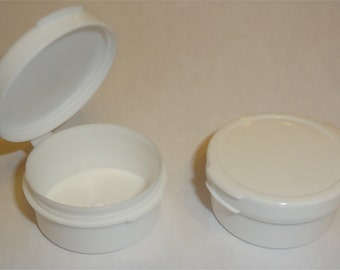 50 10-gram White Hinged Jars Pots Plastic Containers 10ml .35-oz