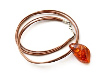 Baltic amber pendant necklace. Natural amber. Amber pendant. Amber necklace. Amber with leather.  0157
