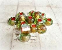 6 x Green & Copper Roller Czech Glass Beads