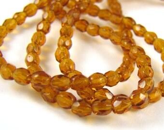 Deep Topaz 3mm Facet Round Czech Glass Fire Polished Beads 50pc #2440