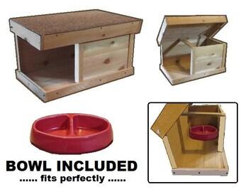 Ark Workshop MEDIUM Outdoor Cat Feeding Shelter plus BOWL, wood home strays ferals pets - LS