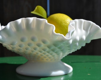 Footed hobnail milk glass bowl