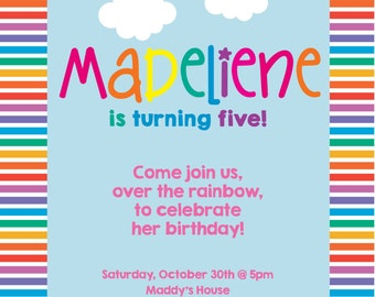 Custom Rainbow Party Invitation - Digital or Printed