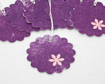 Flower Gift Tags, Purple Hand punched Gift Hang tags, All Purpose- Set of 8