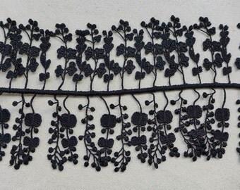 Black Lace Trim, Bridal Lace Floral Tassel Trim, Wedding Bridal Gown Lace Fabric