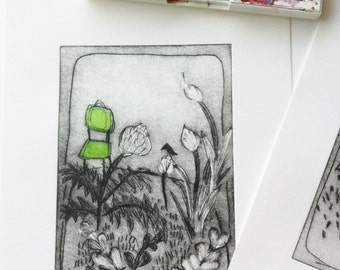 original etching  GARDEN 1 handpulled limited edition drypoint etching by Wendy McDonald