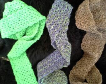 Alpaca Infinity Scarf - Dark Brown, Lime Green, or Purple and Green