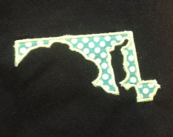 Maryland appliqué and embroidery design in 7 styles and sizes.  Buy this state (Maryland)  -  get any state free