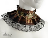 15% OFF SALE, Big Steampunk Choker Necklace with fairy and gears, Victorin fantasy jewelry, Steampunk Wedding collar, Brown choker with lace