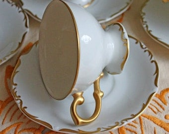 Brenton Regency Porcelain Teacup Saucer Set. White Antique Cup with Saucer Tea Set with 128 Kart Gold Rim and Handle.  Made in Japan.
