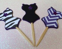 12 Sexy Zebra/Chevron Corset Cupcake Toppers, Sexy Lingerie Decor, Wedding Decorations and Girls Night out Party Favors