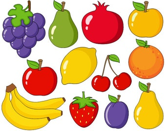 Cute Fruits Digital Clip Art, Grapes, Apple, Bananas, Pear, Plum, Orange, Cherry Clipart - Instant Download - YDC001