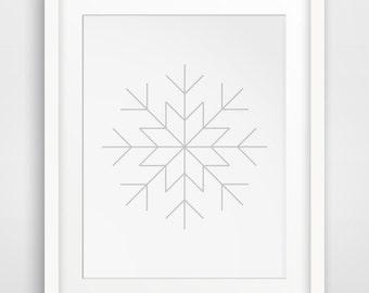 Snowflake Print, Winter Art, Snowflake Decor, Snow Flake, Winter Wall Art, Printable Winter Decor, Snow Art, Printable Art