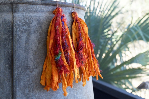 Shoulder duster long orange sari silk earrings