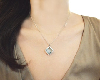 White gold aquamarine necklace, Sideways infinity necklace A-114