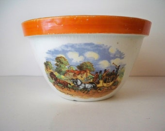 1940s Vintage Thanksgiving Country Kitchen Dickens Days Small Pottery Bowl made in England with Pastoral  Carriage scenes