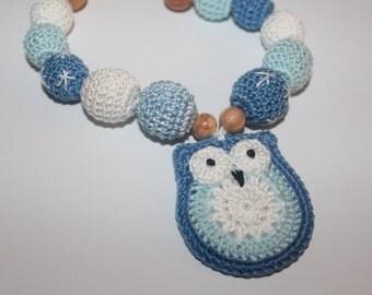 SALE Nursing necklace for slinging mom with owl blue