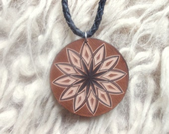 Floral carved leather pendant - tooled leather jewelry - leather necklace