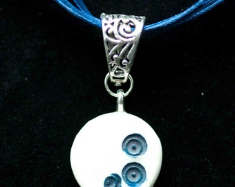 White Porcelain with Blue Circles Necklace