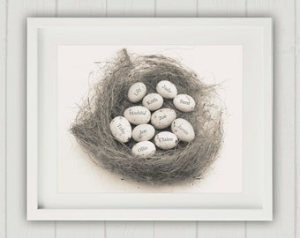 Mothers Day Gift, Alternative Family Tree, Family Nest Print, Mom Gift, Egg in Nest Print, Family Nest, Gift for Mom, Personalized Mom Gift