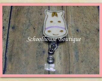 Horse felt badge reel, name badge holder, nurse badge, ID holder, badge reel, retractable badge clip, feltie badge reel