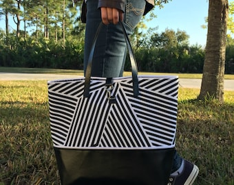 Black & White Canvas Leather Tote