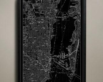 MIAMI Map Print, Neighborhood map poster