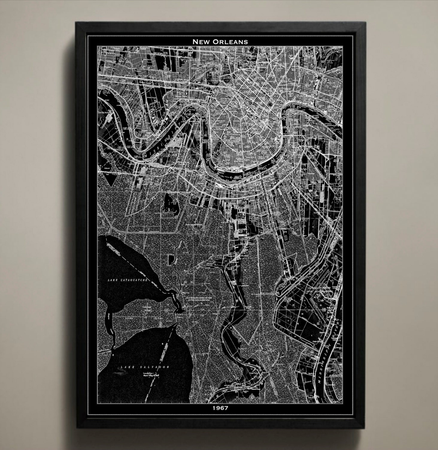 New Orleans Map Print Black And White New Orleans Wall Art