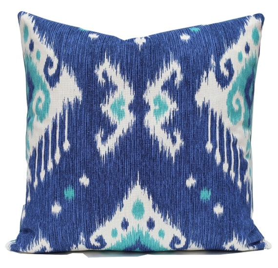 Handmade Ikat Throw Pillows : Ikat Pillow Handmade Turquoise Blue Aqua Decorative