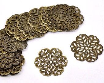 20 pcs 29 m filigree pendants,antique Bronze filigree,brass filigree,Antique bronze connector,brass pendant iron filigree,brass base setting