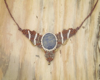 naTiVe  Lapizlazuli natural gipsy powerful forest TiBal JEweLry macrame necklace