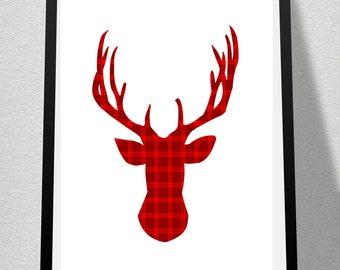Tartan Deer Silhouette -Digital Print 8x10