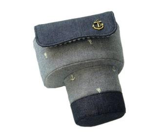 Custom DSLR Camera Case Bag, Dark Grey, Anchor Pattern, Made to Order