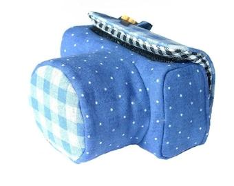 Custom DSLR Camera Case Bag, Blue Dotted Linen Cotton, Made to Order