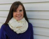 Wide Ribbed Ivory Infinity Scarf