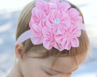 Baby headband, pink headband, pink flower headband, girl headband, infant headband, newborn girl headband, flower girl, first birthday