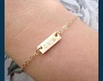 Gold Initial Bar Bracelet - Personalized Hand Stamped Heart - Couple Initial Bracelet - Custom Bar Bracelet - Bracelet Your Initials