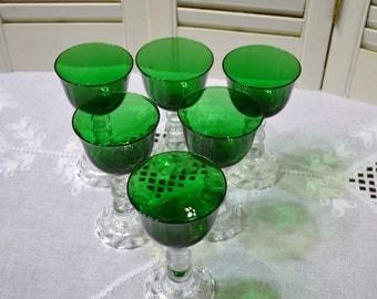 Vintage Candlewick Wine Glass Green Set of 6 Glassware Stemware PanchosPorch